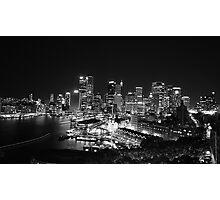 Sydney Nightlights BW Photographic Print