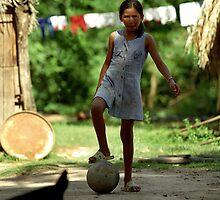 Bolivian Girl Playing Futbol by JBrett