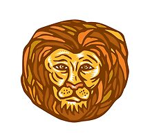 Lion Head Woodcut Linocut by patrimonio