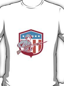 World War One Soldier American Retro Shield T-Shirt
