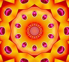 Orange and Burgundy Kaleidoscope Mandala by TigerLynx