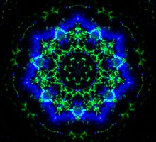 Green and Blue Glow Kaleidoscope Mandala by TigerLynx