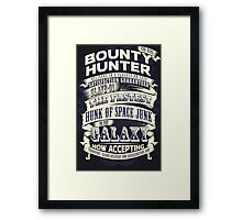 Space Bounty Hunter For Hire Framed Print
