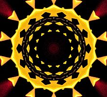 Yellow and Burgundy Kaleidoscope Mandala by TigerLynx