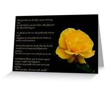 Yellow Rose Greeting Card With Verse - Pluck Not the Rose  Greeting Card