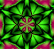 Soft Green Magenta Flower Kaleidoscope Mandala by TigerLynx