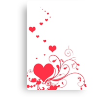 Red Valentine Hearts on A White Background Canvas Print