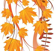 Autumn floral ornament with orange maple leaves 4 by AnnArtshock