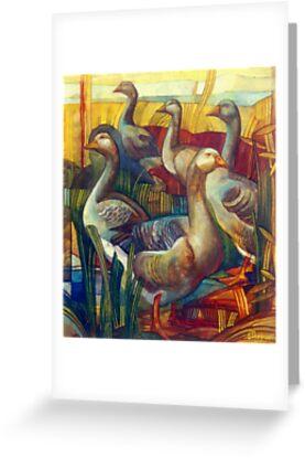 goose lombardella  (anser albifrons) by elisabetta trevisan
