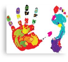 Color footprint and handprint Canvas Print