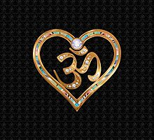 Two golden hearts centered in OM, with OM repetition background by TJ Devadatta Best
