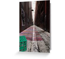 Crate, Lamp, Alley, Robot Greeting Card