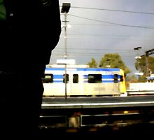 Man waiting for train by sebastian