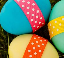 Painted Easter Eggs, Ribbons, Dots - Blue Green by sitnica