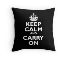 Keep Calm & Carry On, Be British! UK, United Kingdom, white on black Throw Pillow