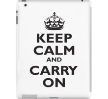 Keep Calm & Carry On, Be British! UK, United Kingdom, Black on white iPad Case/Skin
