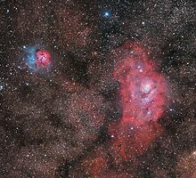 Lagoon and Trifid Nebula by Phil Hart