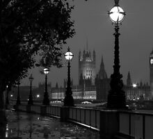 Houses of Parliament in the rain by Johan Lindstrom