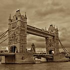 Tower Bridge in Sepia colour by Johan Lindstrom