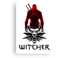 Geralt and Wolf medallion The Witcher (black text) Canvas Print