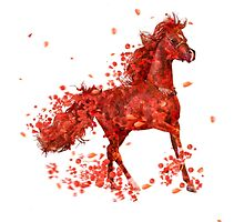 Red horse ( horse and flowers ) by 42beats
