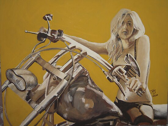 Biker chick on Chopper by JennyA by JennyTheArtist
