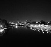 MCG & Yarra (Black & White)  by melbourne