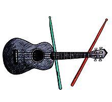 Ukulele and drumsticks by vilestuff