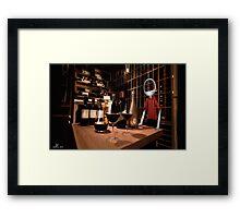 Corky in the cellar Framed Print