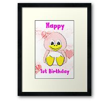 Penguin Baby's 1st Birthday card Framed Print