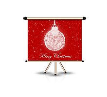 merry christmas decoration ball on isolated banner Photographic Print