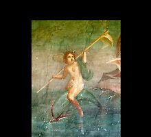 Boy Nymph, Naked, Riding Dolphin, Fresco, Pompeii by TOM HILL - Designer