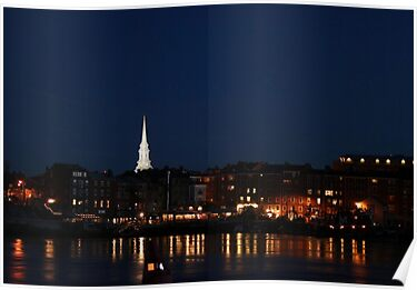 Portsmouth N.H. Night Scene by Kimberly Giorgio