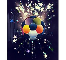 Stars Explosions and Soccer Ball 2 Photographic Print