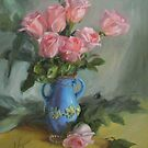 Roses and Blue Vase  by Kathy Cooper