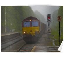 Goods Train arriving at Hebden Bridge Poster