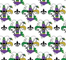 Mardi Gras Crawfish Fleur de Lis Pattern by StudioBlack