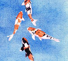 Floating Koi Blue by mrana