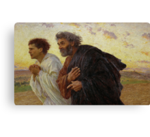 Apostles Peter and John hurry to the tomb on the morning of the Resurrection ca. 1898 by Eugène Burnand Canvas Print