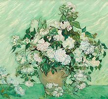 Still Life  Vase with Pink Roses  by Vincent van Gogh in 1890 by Adam Asar