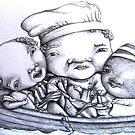 Three Men in a Tub by lynzart