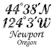 Newport, Oregon Coordinates Vintage Black by theshirtshops