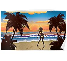 Happy woman on beach Poster