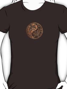 Rough Wood Grain Effect Yin Yang Geckos T-Shirt
