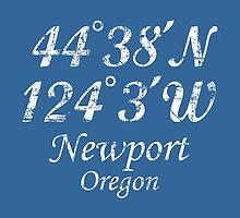Newport, Oregon Coordinates Vintage White by theshirtshops