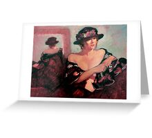 The Flower Hat : oil painting Greeting Card