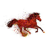 Red horse2 ( horse and flowers ) by 42beats