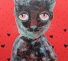 Cat With Big Red Eyes by BeatriceM