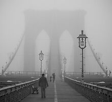 A Foggy Day on the Brooklyn Bridge by Ron Hash