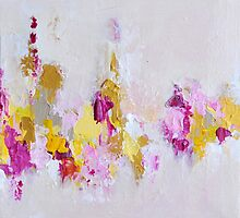 Pink and Gold Textured 3d Painting by ArtMK